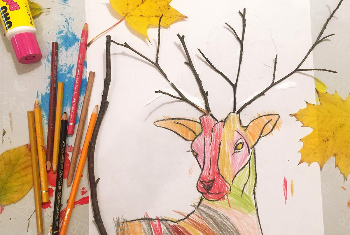 Basteln mit Kindern - Herbstbilder basteln - Malen mit Kindern - Hirschbilder mit Zaubereffekt - Kleine Geschichten