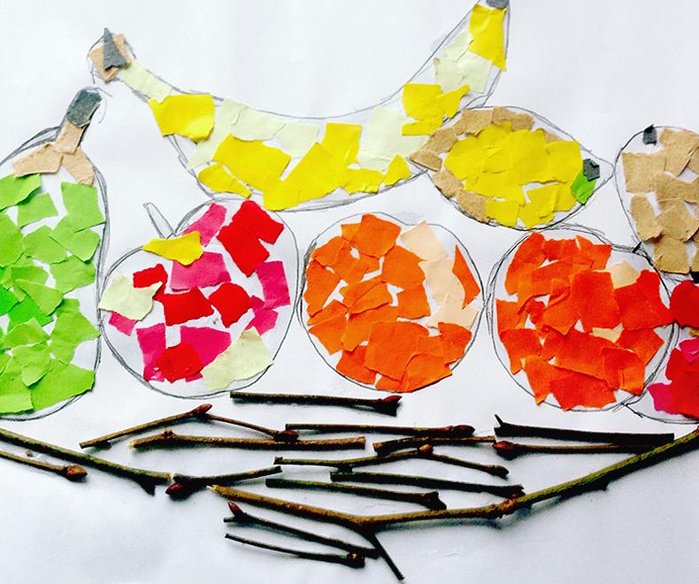 Herbst Basteln - zusammen einen wunderschönen Obstkorb malen, kleben, gestalten - Basteln mit Kindern - ein Stillleben - kleine Geschichten