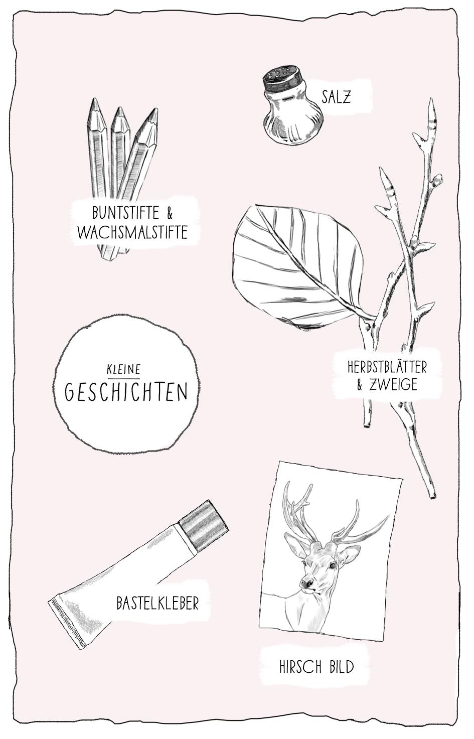 Herbst basteln mit Kindern - Basteln mit Materialien aus der Natur - das Hirschbild - Kleine Geschichten